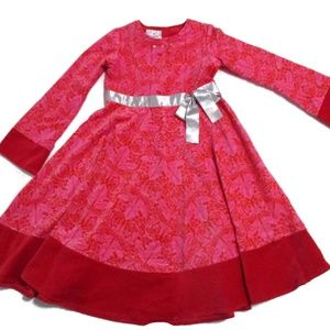 Baby B Lulu Pink Red velvet Formal Dress Girl's 8